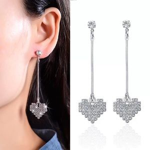 Women's Fashion Drop Diamond CZ Heart Earrings